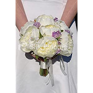 Ivory Silk Rose Wedding Bridal Bouquet with Lilac Sweetpea 16