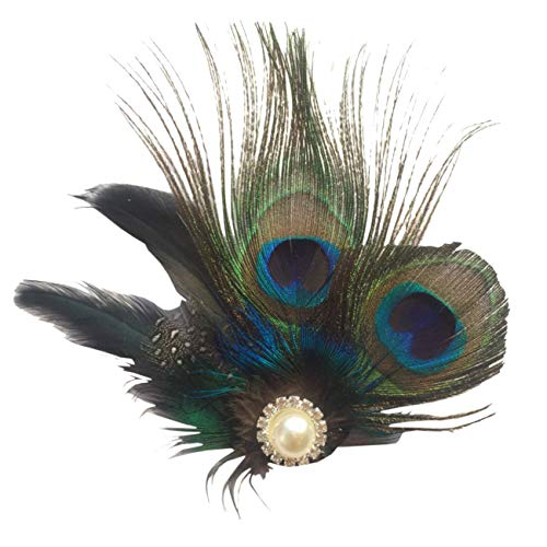 ShiyiUP Peacock Feather Hairpin Wedding Headpiece Dance Headwear]()
