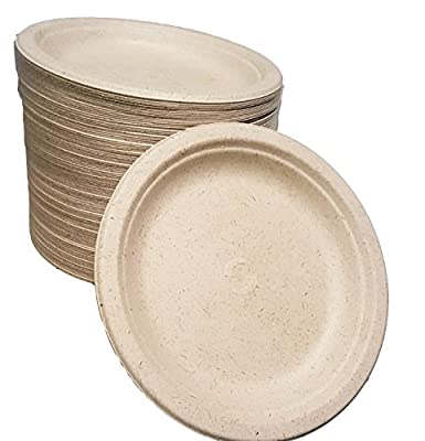 "100% compostable and biodegradable, 7"" DISPOSABLE PLATES - (125 COUNT), made from Wheat Stalk & sugar cane , excellent strength, NO TREES)"