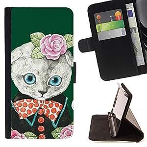 For LG G4 Stylus / G Stylo / LS770 H635 H630D H631 MS631 H635 H540 H630D H542 Case , Rosas verde Bowtie lindo- la tarjeta de Crédito Slots PU Funda de cuero Monedero caso cubierta de piel