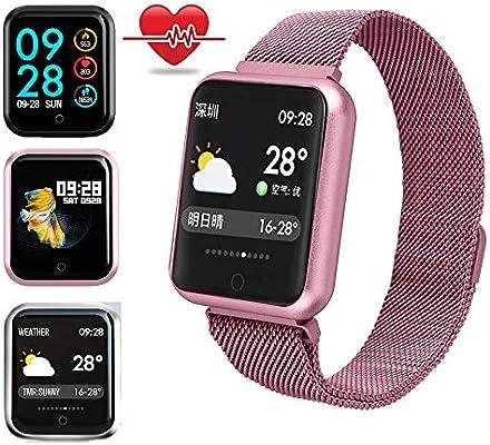 Miya Sports Smart Relojes Impermeables Color Pantalla Táctil Pulsera Oxígeno de la Sangre Presión podómetro Fitness Seguimiento de Actividad, GD-Rose ...