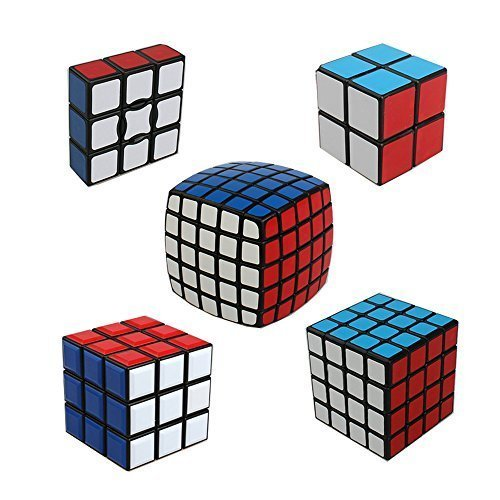 Qm-h Set of 5 Pieces 1x3x3 2x2x2 3x3x3 4x4x4 5x5x5 Stickerless Speed Magic Cube Puzzle Classical Black Ting-w