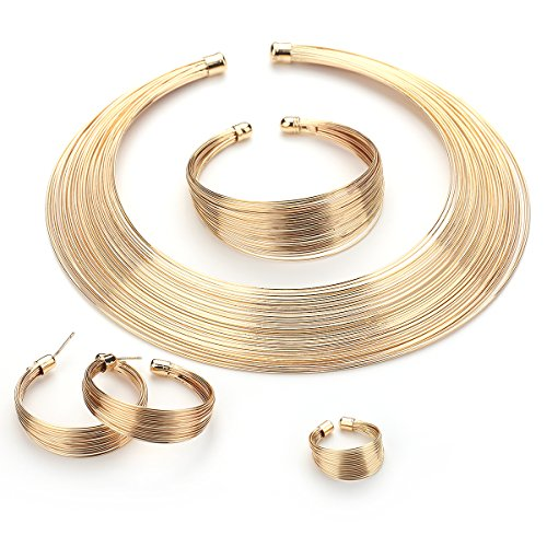 Moochi Gold Plated Multiple Strands Necklace Earrings Bracelet Ring Jewelry Set (African Set Bracelet)