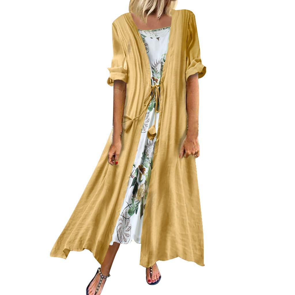 Plus Size Women Linen Dresses+Shawl Two Piece Assymetrical Hem Boho Floral Print Maxi Long Dress (4XL, Yellow)