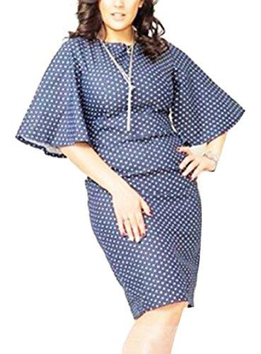 Polka Sleeve Sexy Stylish 1 Jaycargogo Dress Hip Package Trumpet Scoop Neck Women Dot 1B0xqwYH