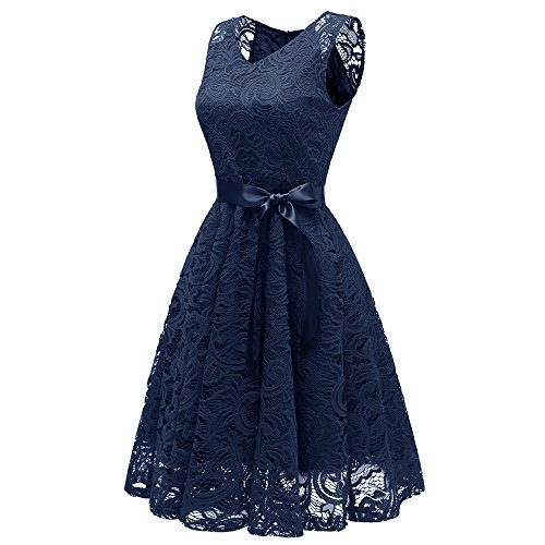 Vestito di Estate Abito V Collo Vintage Abiti Navy Spiaggia Elegante Pizzo Donna Blu Donne Patchwork Sexy Estivo Serale Vestiti Party Casual Cerimonia Donna LEvifun Party Mini RE1zqY