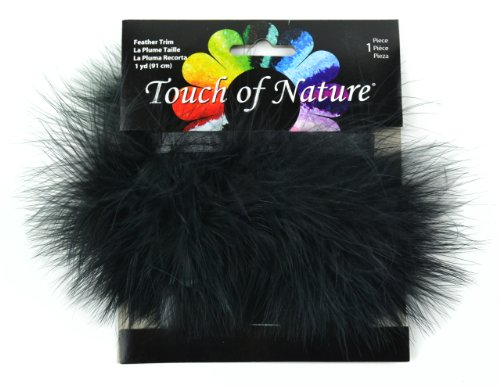 Marabou Feather Fur (Touch of Nature Fluffy Feather Trim, 2.5 by 36-Inch, Black)