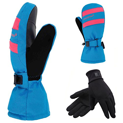2-in-1 Touch Screen Winter Ski Mitts + Liner Gloves, 3M Thinsulate, Hidden Pocket, Blue, M
