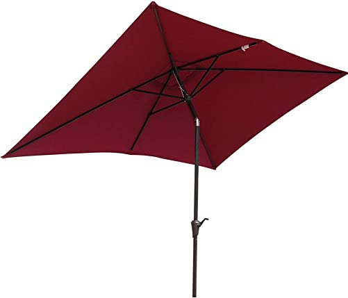 SUNSITT Rectangular Patio Umbrella Outdoor Market Table Umbrella with Push Button Tilt and Crank, 6.6 by 9.8 Ft, Burgundy