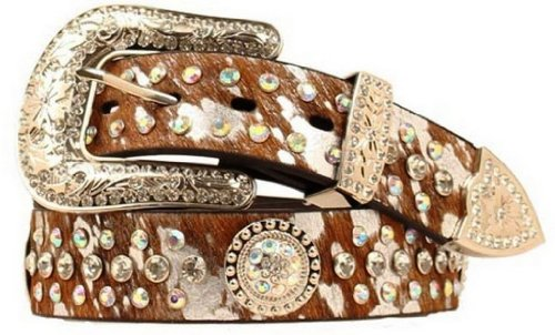 Nocona Crystal Concho Belt (Nocona Women's Hair-On-Hide Iridescent Rhinestone Concho Belt Brown)