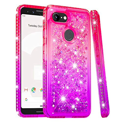 Price comparison product image Pixel 3 Case,  Futanwei [Gradient Colorful+Quicksand+Diamond Bumper] Soft TPU Case for Girls Glitter Crystal Design Sparkle Bling Luxury Full Cover for Google Pixel 3 [NOT fit Pixel 3XL] PinkPurple