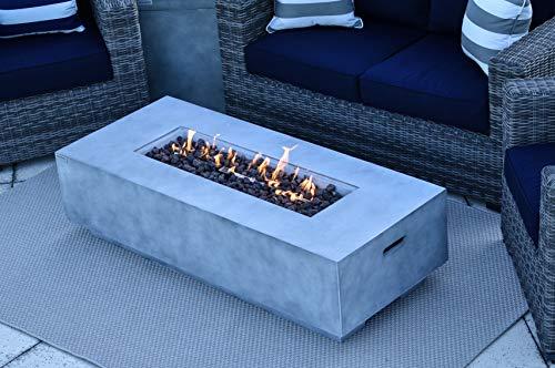 "AKOYA Outdoor Essentials 56"" Fiber Concrete Rectangular Outdoor Propane Gas Fire Pit Table in Gray"