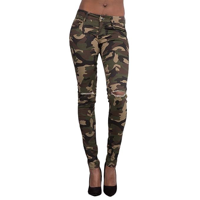 Zhhlinyuan Ladies Mujer Camuflaje Ripeado Pitillos Jeans Camo Verde del Ejército Diseño de Moda Casual Pantalones Exterior