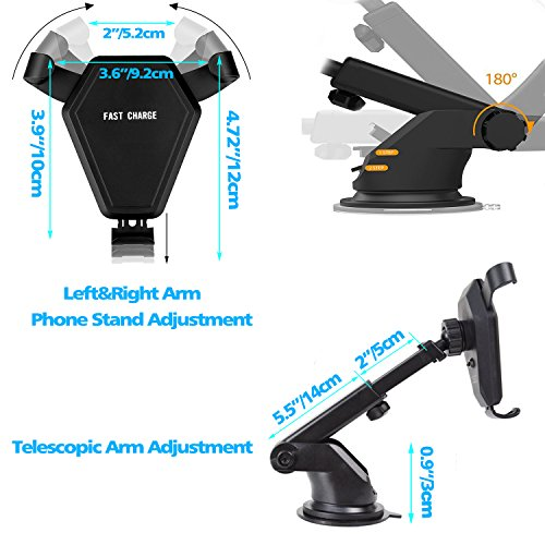 Fast Wireless Charger,MEIWU Car Mount Air Vent Phone Holder Cradle for Samsung Galaxy Note 7/6/S8/S8 plus/S7/S6 Edge plus,QI Wireless Standard Charge for iPhone 8/8 plus/X etc. by MEIWU (Image #7)
