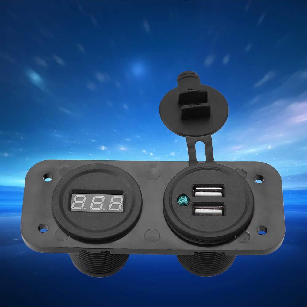 1A/2.1A Dual USB Universal Port Car Charger Socket + 12V24V Digital Voltmeter(Blue)