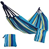 SONGMICS Cotton Hammock Swing Bed for Patio, Porch, Garden or Backyard Lounging - Heavy-Duty, Lightweight and Portable - Indoor & Outdoor - Blue and Yellow UGDC15YU