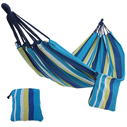 SONGMICS Cotton Hammock Swing Bed for Patio, Porch, Garden or Backyard Lounging - Heavy-Duty, Lightweight and Portable - Indoor & Outdoor - Blue and Yellow UGDC15YU by SONGMICS
