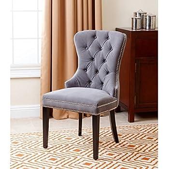 Amazon Com Aa031 Grey Velour Crystal Tufted Dining Chair