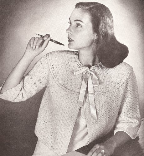 Vintage Crochet PATTERN to make - Crocheted Bed Jacket Sweater With Yoke. NOT a finished item. This is a pattern and/or instructions to make the item only. ()