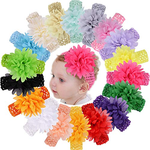 """KW Collection Girl Baby Headbands with Chiffon Lotus Flower Elastic Crochet Hair Bands Ankle Wrist Flower Hat Decoration (Band: 1.6""""×5.5"""", with Chiffon Flower: 3.9""""×3.9"""", 18 colors, 1 pcs per color)"""