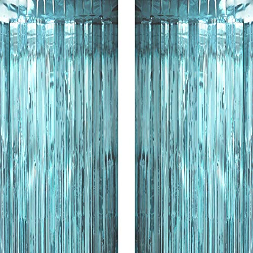 Blue Frozen Party Tinsel Foil Fringe Curtains Backdrops Decorations - Under The Sea Baby Shower Birthday Wedding Bridal Shower Party Photo Backdrops Props Decorations, 2pc]()