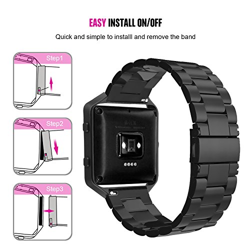 For Fitbit Blaze Accessory Bands Large,Oitom Frame Housing+Stainless steel Bracelet Replacement Strap Watch Band for Fitbit Blaze Smart Fitness Watch (Black Steel+Frame) by Oitom (Image #4)