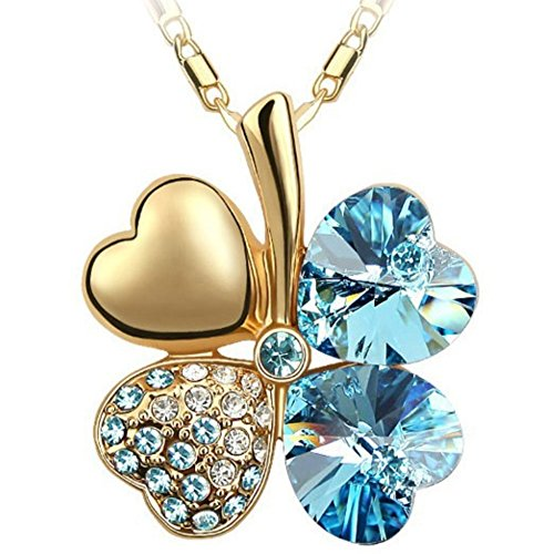 Sinkfish NL80037 Heart-Shaped Necklace for Women,Sweet Style Clover Crystal Necklace,Cyan