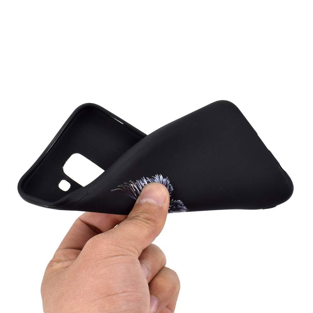 HYcase Estuche para Samsung Galaxy J6 Plus 2018 El Brazo Funda Protectora de Funda de Negro Puro con Brillo de Silicona TPU Ultra Brillante y Creativa a Todo Color para Samsung Galaxy J6 Plus 2018