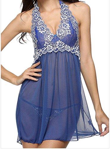 DH-MS Dress Women's Lace Patchwork Blue Halter Sleepwear Babydoll Lingerie Set M (Brazil Fancy Dress Ideas)