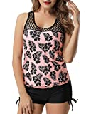 Holipick Women Two Piece Plus Size Sexy Backless High Neck Halter Floral Printed Top with Hipster Bottoms Tankini Set Pink L