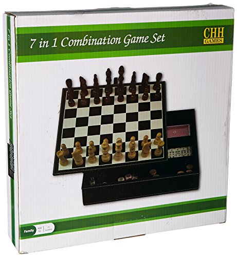 Faux Leather Game Set with A Variety of Tabletop Games, Black