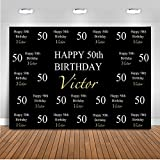 Mehofoto Customized 50th 60th 70th 80th 90th Birthday Party Backdrop Custom Age Name Color Photography Background 7x5ft Vinyl Birthday Party Decoration Banner Backdrops