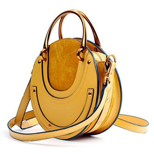 Actlure Women Genuine Cowhide Leather Round Shape Top handle Shoulder Purse Crossbody Bag (yellow)