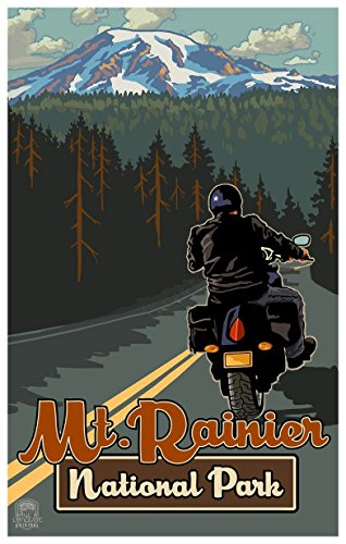 Mt. Rainier National Park Motorcycle Rider Travel Art Print Poster by Paul A. Lanquist (12