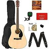 #3: Fender CD-60S Dreadnought Acoustic Guitar - Natural Bundle with Gig Bag, Tuner, Strap, Strings, Picks, Fender Play Online Lessons, and Austin Bazaar Instructional DVD