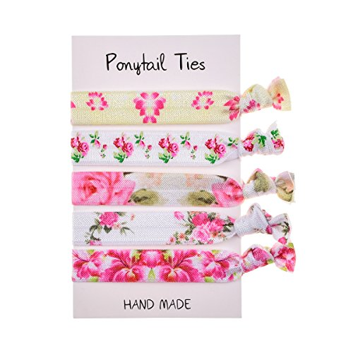 Floral Fall Unicorn Hair Tie Set Party Favors Girls Birthday Ponytail Holder Elastic Bow Hair Ties HT-01 (Rose Bloomy)