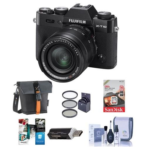 Fujifilm-X-T10-Mirrorless-Camera-with-XF-18-55mm-f28-4-R-LM-OIS-Lens-Black-Bundle-With-16GB-SDHC-Card-Holster-Bag-Cleaning-Kit-Card-Reader-58mm-Filter-Kit-Software-Package