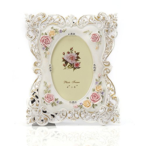 4x6 Inches White Victorian Crystal Decorated Butterfly Polyresin Picture -