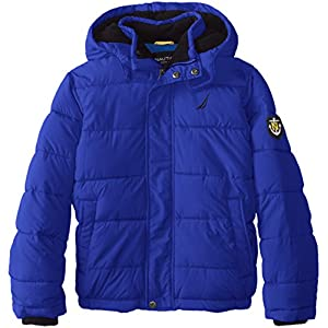 Nautica Big Boys' Signature Puffer Coat, Ocean Blue, Small