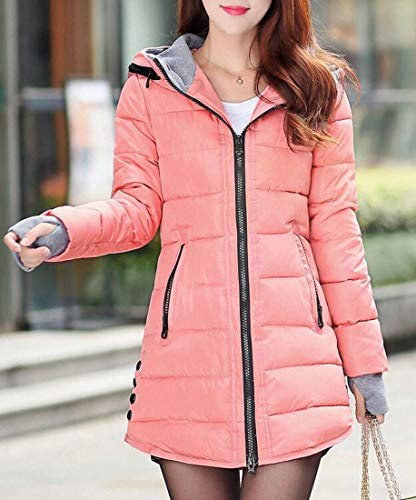 Cotton Winter Long Women Hoodie amp;E Fit Pink Mid Parkas Slim Outerwear Padded H Coats 1IqESvv