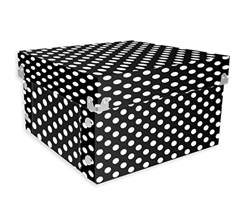 Ideastream Snap - Snap-N-Store Gift Boxes, 10.25 x 5 x 10.25 Inches, Black/White Polka Dot, 2 Pack (SNS01973)