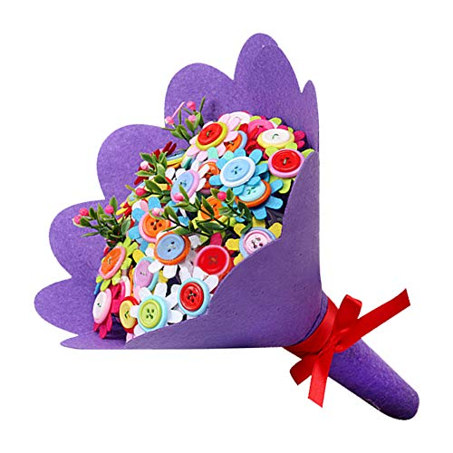 CrazyCharlie DIY Bouquet Crafts Button Flowers,Handmade Craft Iron Wire Button Felt Bouquets Kit Make 40 Flowers for Teachers' Day Thanksgiving Day ()