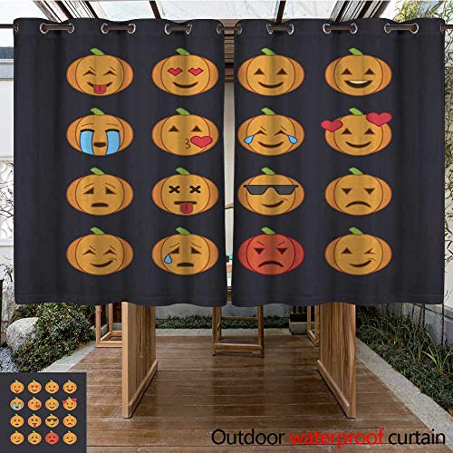 RenteriaDecor Outdoor Curtains for Patio Waterproof Halloween Emoticon face Icons Set W96 x L72 -