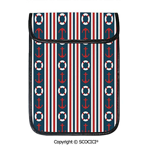 - SCOCICI iPad Pro 12.9 Inch Sleeve Tablet Protective Bag Vertical Borders Stripes Maritime Theme Steering Wheel and Anchor Pattern Decorative Custom Tablet Sleeve Bag Case