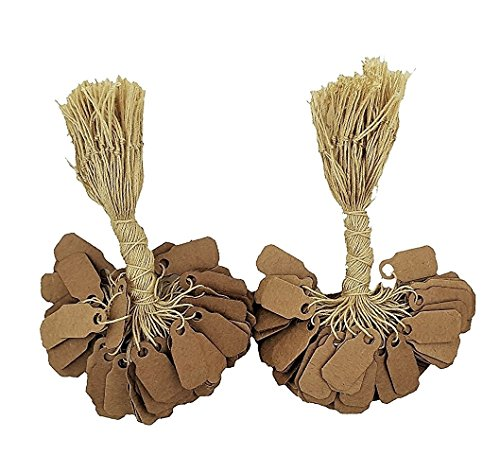 Wrap Sells (200 Pcs of Kraft Paper String Tags, Price Tags, Elegant Jewelry String Tags perfect for Gifts or Business (7/8