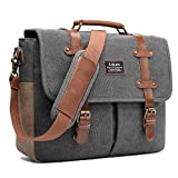 LOKASS Men Laptop Messenger Bag Vintage Genuine Leather Canvas Satchel 15.6 Inch Laptop Shoulder Bag Handbag Briefcase for Travel Work School (Canvas Dark Grey)