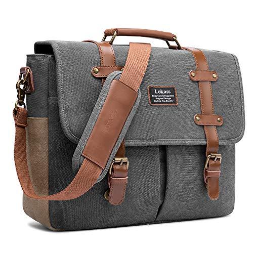 LOKASS Men Laptop Messenger Bag Vintage Genuine Leather Canvas Satchel 15.6 Inch Laptop Shoulder Bag Handbag Briefcase for Travel Work School (Canvas Dark Grey)