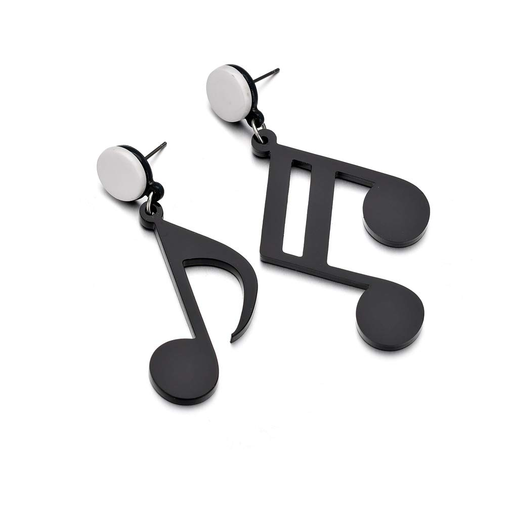 YINLIN Creatived Punk Acrylic Black Asymmetrical Music Note Dangle Earring For Music Lovers