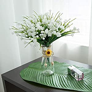 MARJON Flowers4 pcs Artificial Flowers Fake Outdoor Faux Plants Greenery Daffodils White Shrubs Plastic Bushes Indoor 3