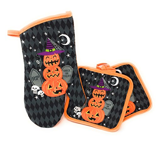 Whimsical Halloween Theme 3 Piece Kitchen Linen Set ~ Includes: 2 Pot Holder 1 Oven Mit -